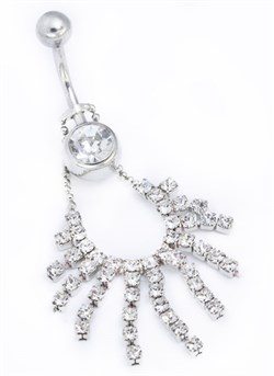 TOP DOWN 36 STONE NECKLACE BELLY NAVEL RING - фото 11375