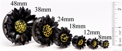 Плаги - черный цветок из рога и кожи - фото 11574