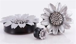Плаги серебряный цветок. Рог и кожа - фото 11761