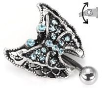 "Украшение в пупок 14g 7/16"" Vintage Aqua Stone Hinged Butterfly"